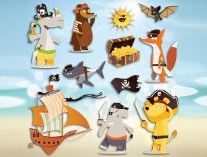 Διακοσμητικά αυτοκόλλητα τοίχου Pirates 3D