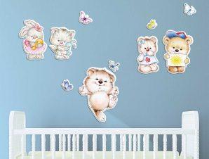 Διακοσμητικά αυτοκόλλητα τοίχου Tender Animals αφρώδη