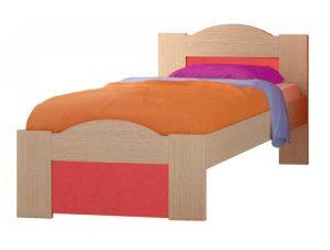 """Παιδικό κρεβάτι """"ΚΥΜΑ"""" μονό σε χρώμα δρυς-κόκκινο 90×190"""
