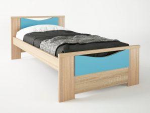 """Παιδικό κρεβάτι """"ΧΑΜΟΓΕΛΟ"""" μονό σε χρώμα δρυς-σιελ 90×190"""
