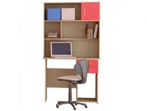 Παιδικό γραφείο με εταζέρα σε χρώμα δρυς-κόκκινο