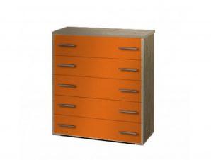 Συρταριέρα παιδική σε χρώμα δρυς-κόκκινο 80x45x90