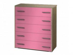 Συρταριέρα παιδική σε χρώμα δρυς-ροζ 80x45x90