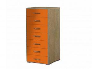 Συρταριέρα με 7 συρτάρια σε χρώμα δρυς-κόκκινο 60x45x123