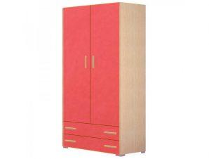 Ντουλάπα παιδική δίφυλλη σε χρώμα δρυς-κόκκινο 105x50x180