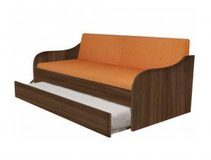 """Κρεβάτι-καναπές """"SILKY"""" με συρόμενο κρεβάτι σε χρώμα καρυδί 80×190"""
