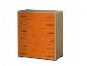 Συρταριέρα παιδική με 6 συρτάρια σε χρώμα δρυς-κόκκινο 90x45x1,08