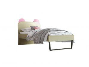 """Παιδικό κρεβάτι """"ΚΟΡΩΝΑ"""" μονό σε χρώμα δρυς-ροζ 90×190"""