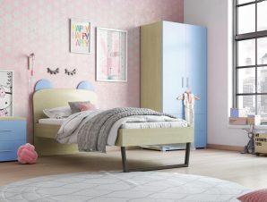 """Παιδικό δωμάτιο """"ΚΟΡΩΝΑ"""" σετ 3 τμχ. σε χρώμα δρυς-μπλε"""