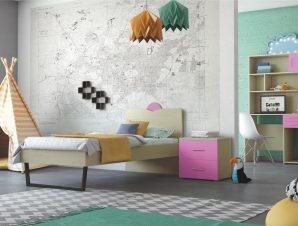 """Παιδικό δωμάτιο """"ΑΝΑΤΟΛΗ"""" σετ 5 τμχ σε χρώμα δρυς-ροζ"""