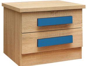 """Κομοδίνο """"PLAYROOM"""" με δύο συρτάρια σε χρώμα σονόμα/μπλε 40x48x39"""