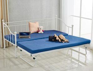Κρεβάτι-καναπές μονό επεκτ/νο μεταλλικό σε χρώμα λευκό 90x190x93