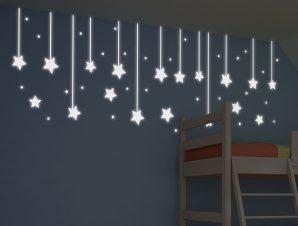 Διακοσμητικά αυτοκόλλητα τοίχου Hanging Stars Φωσφορίζοντα M