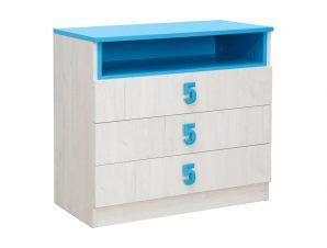 """Συρταριέρα """"NUMERO"""" σε λευκό δρυός-μπλε χρώμα 80x52x75"""