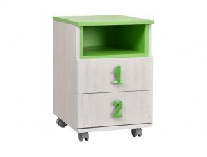 """Κομοδίνο """"NUMERO"""" τροχήλατο σε χρώμα λευκό-πράσινο 40x42x60"""
