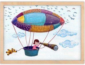 Κοριτσάκι στο αερόστατο Παιδικά Πίνακες σε καμβά 30 x 20 εκ.