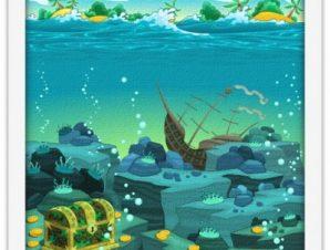 Θησαυρός στον ωκεανό Παιδικά Πίνακες σε καμβά 40 x 40 εκ.
