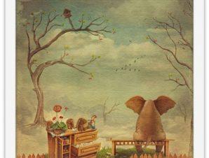 Στοχαστικό ελεφαντάκι Παιδικά Πίνακες σε καμβά 40 x 40 εκ.