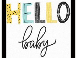 Hello baby! Παιδικά Πίνακες σε καμβά 40 x 40 εκ.