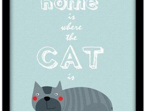 Η γάτα είναι στο σπίτι Παιδικά Πίνακες σε καμβά 20 x 30 εκ.