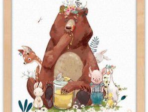 Αρκούδα τρώει το μέλι Παιδικά Πίνακες σε καμβά 40 x 40 εκ.