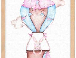 Κουνελάκι σε αερόστατο Παιδικά Πίνακες σε καμβά 20 x 30 εκ.