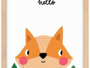 Η αλεπού λέει γεια Παιδικά Πίνακες σε καμβά 20 x 30 εκ.