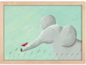 Ελεφαντάκι Παιδικά Πίνακες σε καμβά 30 x 20 εκ.
