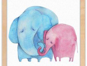 Ζευγάρι ελέφαντες Παιδικά Πίνακες σε καμβά 40 x 40 εκ.