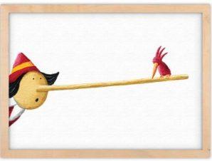 Πουλάκι στη μύτη του Πινόκιο Παιδικά Πίνακες σε καμβά 30 x 20 εκ.