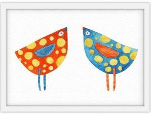 Πολύχρωμα πουλάκια Παιδικά Πίνακες σε καμβά 30 x 20 εκ.