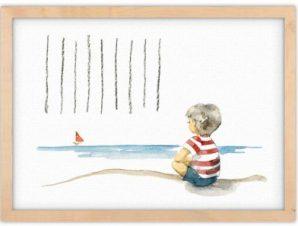 Αγοράκι στη θάλασσα Παιδικά Πίνακες σε καμβά 30 x 20 εκ.