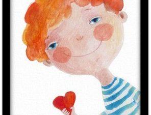 Ερωτευμένο αγοράκι Παιδικά Πίνακες σε καμβά 20 x 30 εκ.