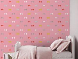 Μοτίβο με μικρούς φιόγκους του Winnie The Pooh! Παιδικά Ταπετσαρίες Τοίχου 100 x 100 εκ.