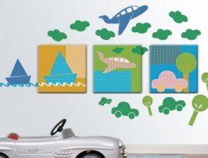 Πάμε ταξίδι! Παιδικά Πίνακες και αυτοκόλλητα 152×71