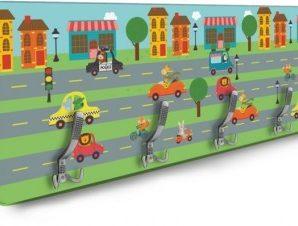 Πόλη και αυτοκινητάκια Παιδικά Κρεμάστρες & Καλόγεροι 138 x 45 εκ.