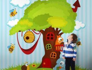 Δεντρόσπιτο Παιδικά Ταπετσαρίες Τοίχου 100 x 100 cm