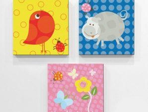 Ζωάκια Παιδικά Mini Set καμβάς 25 x 25 cm