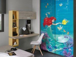 Ariel μέσα στη θάλασσα, Princess Παιδικά Αυτοκόλλητα ντουλάπας 100 x 100 εκ.
