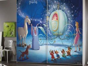 Μαγεία για την Σταχτοπούτα, Πριγκίπισσες Παιδικά Αυτοκόλλητα ντουλάπας 100 x 100 εκ.