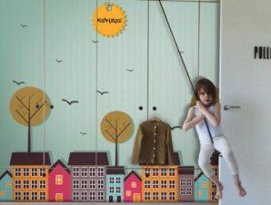 Καλημέρα Μικρή πόλη Παιδικά Αυτοκόλλητα ντουλάπας 100 x 100 εκ.