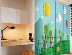 Ηλιόλουστη μέρα στο δάσος Παιδικά Αυτοκόλλητα ντουλάπας 100 x 100 εκ.