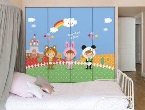 Παιδιά ντυμένα ζωάκια Παιδικά Αυτοκόλλητα ντουλάπας 100 x 100 εκ.