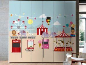 Χαρούμενο Λούνα παρκ Παιδικά Αυτοκόλλητα ντουλάπας 100 x 100 εκ.