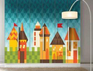 Παραμυθένια πόλη Παιδικά Αυτοκόλλητα ντουλάπας 100 x 100 εκ.