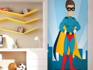 Σούπερμαν Παιδικά Αυτοκόλλητα ντουλάπας 100 x 100 εκ.
