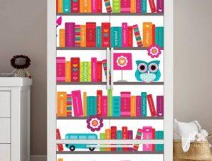 Πολύχρωμη βιβλιοθήκη Παιδικά Αυτοκόλλητα ντουλάπας 100 x 100 εκ.