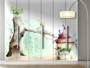 Παστέλ ρομαντικό παιδικό φόντο Παιδικά Αυτοκόλλητα ντουλάπας 100 x 100 εκ.