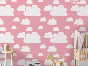 Ροζ ουρανός με συννεφάκια, Winnie the Pooh! Παιδικά Ταπετσαρίες Τοίχου 100 x 100 εκ.