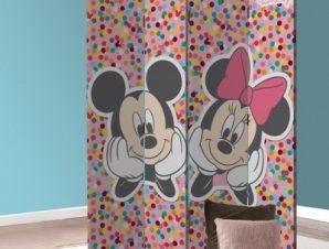 Ο Mickey και η Minnie σε πολύχρωμο φόντο! Παιδικά Παραβάν 80 x 180 εκ. [Δίφυλλο]